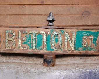 Antique Betton St Street Sign Double Sided Crazed Chippy Paint