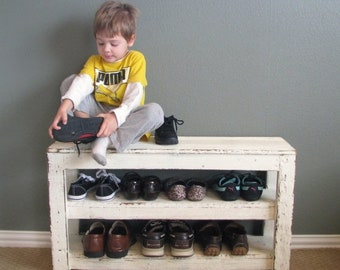 SALE Rustic Shoe Shelf Entry Way Bench