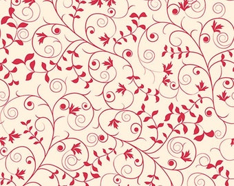 Red Scrolled Vine Fabric Our Father QT Fabrics (Quilting Treasures)  #24228-R