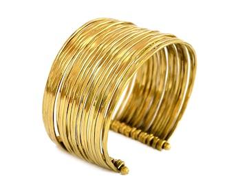 Boho Brass Bracelet, Boho Bracelet, Gold Cuff Bracelet, Gypsy Bracelet, Wide Cuff Bracelet, Tribal Bracelet, Adjustable Bracelet