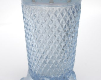 Vintage Imperial Blue Katy Lace Opalescent Footed Vase