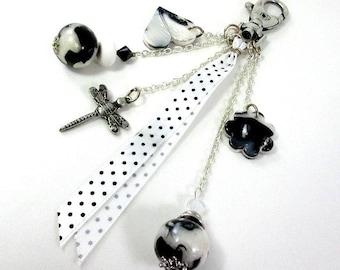 Black and white pearls bag charm and peas ribbon