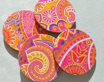 Floral Paisley Magnets, Set of 4 Magnets,Pink Rose Orange Magnets, Paisley Magnets, Flower Girl Gift,