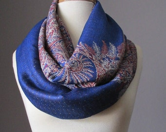 Fast shipping, Blue scarf,  pashmina, Paisley scarf, Fern scarf, stylish gift for her, fall scarf