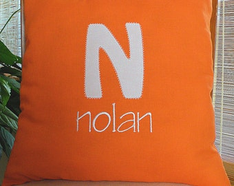 Orange Monogrammed Pillow , Throw Pillow, Appliqued Pillow, Personalized Pillow