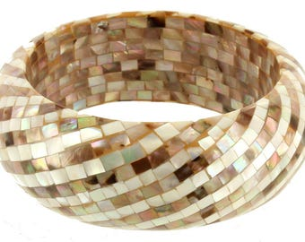 """Vintage Mother of Pearl & Abalone Mosaic Shimmery Thick Bangle Bracelet 8"""""""