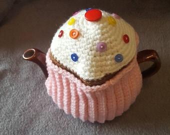 "2 Cup Tea Cosy. Handmade crochet ""Pink Cupcake"""