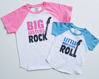 Sibling Announcement - Sibling Shirts - Big Sister Rock - Little Brother Roll - Big Brother - Little Sister - Sibling Sets - Sister Shirts