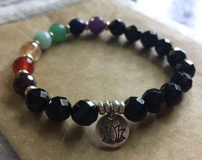 Faceted Onyx, Chakra Gemtones + Oxidized Thai Silver Lotus | Spiritual Junkies | Yoga + Meditation | Stackable Mala Bracelet