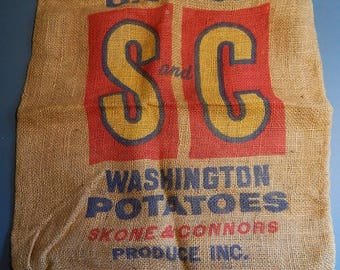 "20"" x 30"" Burlap 50 lbs Potato Sack S+C Wapato Wash Skone + Connors"