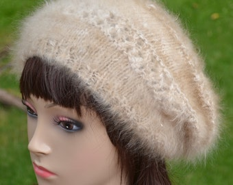LAST CHANCE to SAVE Hand knit slouch hat in 100% handspun angora.