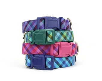 Jewel Tone Gingham Dog Collar Emerald Green Amethyst Purple Ocean Blue Fuchsia Pink Plaid Dog Collar
