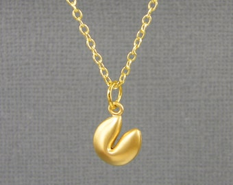 Fortune Cookie Necklace Tiny Gold Fortune Cookie Charm Necklace Good Luck Necklace Jewelry |NB1-15