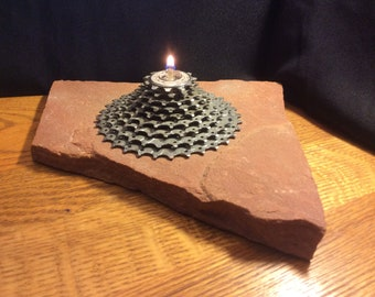 Red rock candle - rock lamp - oil lamp - rock oil lamp - rock decor - bike decor - gear candle | * FREE SHIPPING*