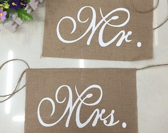 MR and MRS wedding chair sign,burlap chair decoration
