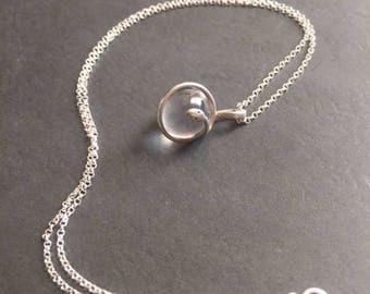 Sterling Silver Necklace with Vintage Pools of Light Snake Charm