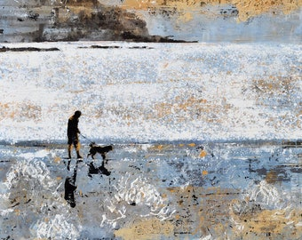 "Beach DOG WALKER, Beach Walk, Beach Walker, Dog Walker Art , Dog Walking Print, Man and Dog, Dog Art, ""L'Ocean Breton"" by Melanie McDonald"