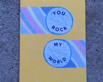You Rock My World Greetings Card