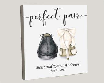 Wedding Canvas, Personalized Wedding Gift, Unique Bridal Shower Present, Wedding Shoes Artwork, Perfect Pair, Custom Wedding Canvas