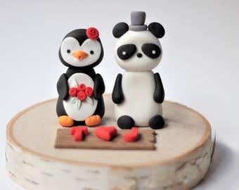Wedding Cake Topper - Panda Wedding Cake Topper - Penguin Wedding Cake Topper - Fondant Wedding Cake Topper - Wedding Cake - Wedding Topper