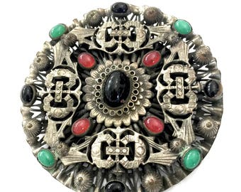 Huge Chinoiserie Silver Tone Brooch, Onyx Chrysoprase and Carnelian Cabochons, Intricately Detailed Layered  Dimensional Design, Neiger (?)