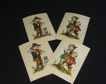 Vintage 1940s – 50s Set of 4 Unused Postcards, Signed by Hilde, Hummel Style