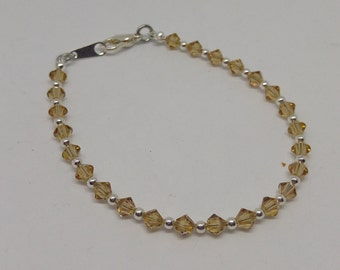 Light Colorado Topaz Swarovski Crystal and Steel Bracelet