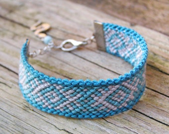 Turquoise ikat bracelet with snake totem charm, Aztec wayuu fiber jewelry, Native american indian ethnic jade gem stone cuff, Tribal pattern