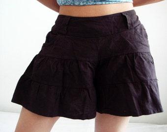 P3, Dark Brown Summer Sea Beach Cotton Skorts, brown shorts