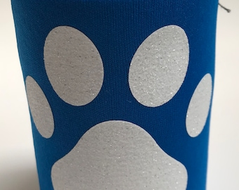 Royal Blue KOOZIE®  with a dog paw print in white glitter, dog, dog mom, furry, puppy, everyday use, beverage holder