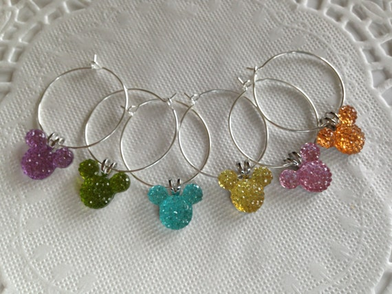 Hidden Mickey Wine Charms in Jewel or Pastel Mouse Ears Shower Gift Birthday Present Kitchen Supply