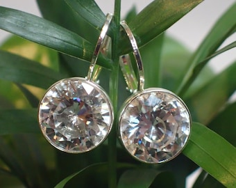 Sparkling silver plated crystal drop earrings