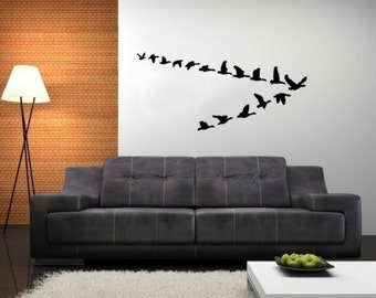 Geese Wall Decal - Geese in Flight Vinyl Wall Decal - Lodge Decor 22227