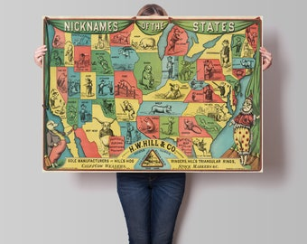 Old United States Map| Nicknames of States| Cartoon Map| US Map| US Old Map| Wall Decor Old Map| Home Decor Old Map| Old Wall Maps| AMC026