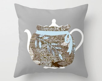 Outdoor Pillow Cover with Pillow Insert, Outdoor Pillow,  French teapot and tea cozy