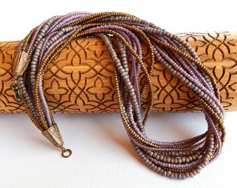 Dusky Lavender Multistrand Seedbead Necklace