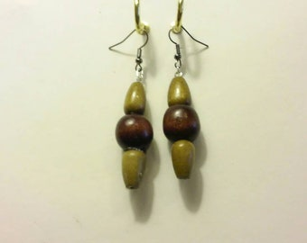 Wooden earrings that you can wear with anything.