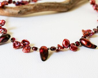 Garnet and Pearl Necklace  Cranberry Red Necklace  Garnet Boho Choker  Garnet Color Jewelry  Gift for Woman