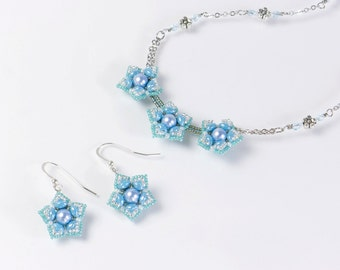 Aqua blue flower necklace, french wire earrings, clip on screw back earrings, necklace and earring set, valentine gift ideas for her, 396-1