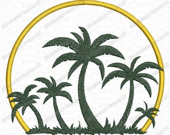 Palm Tree Sunset Applique Embroidery Design in 4x4 and 5x7 Sizes