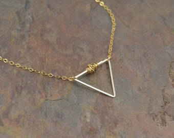 BALANCE GOLD NECKLACE, triangle mixed metal gold and silver necklace