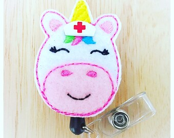 Feltie Badge Reel - Nurse Unicorn -  Badge Holder - Retractable Badge Reel - ID Badge Clip - Nurse - RN Badge -  Badge - Mysweetbadge