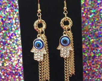 Hamsa Earrings, Hamsa Rhinestone Earrings, Dangle Earrings, Ojo Earrings, Evil Eye Protection, Hand Of Fatima, Protection Jewelry