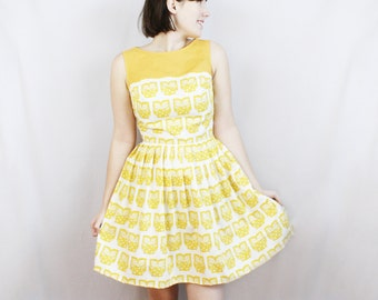Owl Be There For You Dress - Bird, Mustard Yellow, Gift for Her, Woodland, Hipster, Indie, Boho, Bohemian