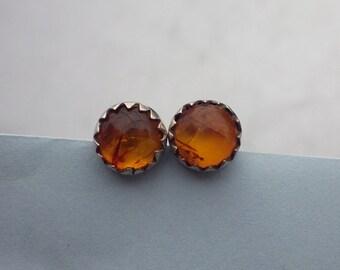 Pretty dainty vintage sterling silver earrings studs amber cabochon ~ 1990s, boho