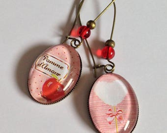 Earrings dangling cabochons - love - heart - pink - red