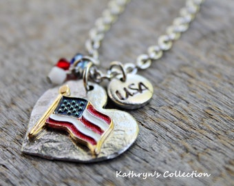USA Necklace, USA Flag Necklace, USA Jewelry, Patriotic Jewelry, Military Jewelry, American Flag Necklace, Stars & Stripes