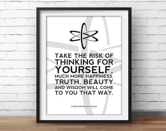Christopher Hitchens Poster Atheism Quote - Science Art, Geek Posters, Atheist Print, Wall Art, Scientist Poster, 18x24 Poster