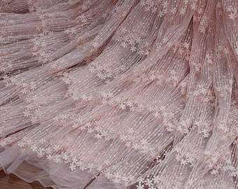 PINK mesh flower pink lace fabric , Embroidered lace fabric,vintage lace fabric for wedding dress, wedding gown lace fabric