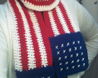 2 for 1: Star Spangled American Flag Scarf / Cowl Crochet Pattern